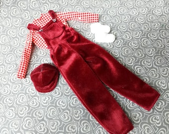 Red  Barbie Overalls outfit 11 inch doll original fashion