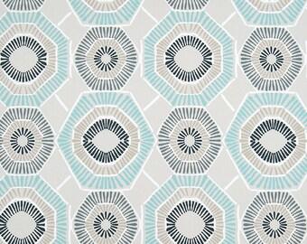 "Two  96"" x 50""  Custom  Curtain Panels - Geometric - Grey/Aqua"