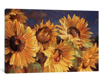 iCanvas Sunflower Gallery Wrapped Canvas Art Print by Emma Styles