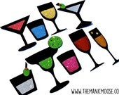 Photo Booth Props ~ Happy Hour Collection ~ Set of 9 GLITTER Cocktail Photobooth Props