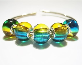 5 Blue, Yellow Glass, Globe, European Charm Bracelet Beads - Euro Beads, Multi-color, 925 Stamped Cores