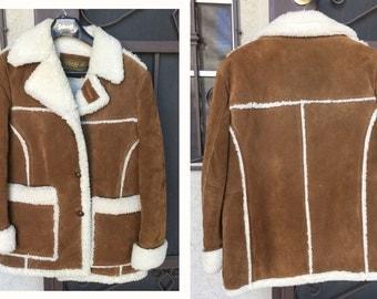 Vintage rancher coat suede leather coat sherpa Marlboro style men's size 42  Miller Stockman of Denver, high end western wear outlet