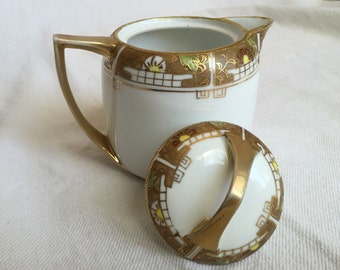 Nippon Morimura creamer antique pitcher with lid early geometric design