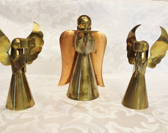 Copper and Brass Angel Candle Stick Holders Set Of Three