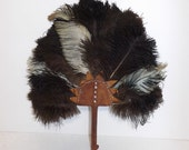 Vintage old Egyptian tribal real ostrich feather and brown leather fan ceremonial African