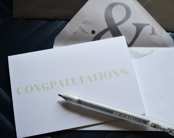 Congratulations - Single Blank Card - Love - Wedding - Anniversary - Mr & Mrs Paper Lined Envelope