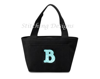 Insulated Lunch bag, Lunchbox, Teacher gift, Cooler, with one glitter letter  - 20 Tote Colors Available