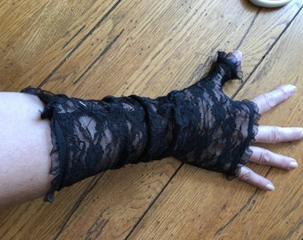 Long Black Lace Fingerless Gloves With Feathers