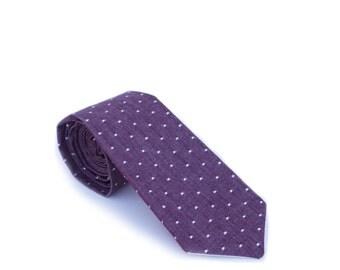 Wine Linen Pin Dot Neck Tie