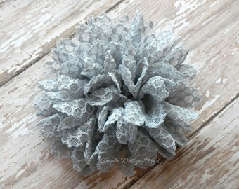 "Grey Hair Flower - Lace Hair Flower - Hair Clip or Brooch - 3.5"" Jane Flower - Grey Flower Clip"