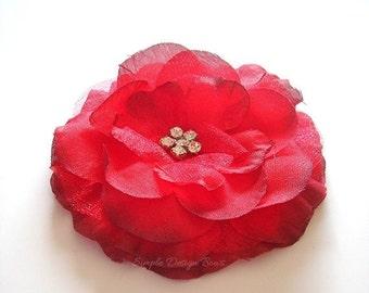 "ON SALE CLEARANCE Red Hair Flower - Red Flower Clip - 3"" Emma Flower - Hair Clip or Brooch - Rhinestone Flower - Christmas Hair Flower"