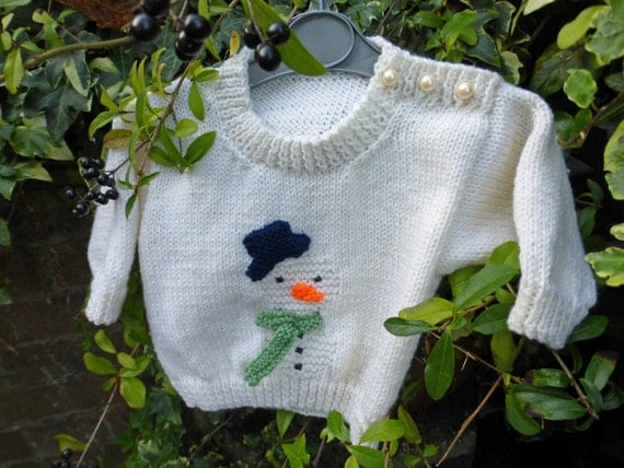 BABY KNITTING PATTERN in pdf - Snowman Christmas Jumper for Babies and Toddle...