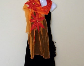 Nunofelted scarf, long scarf, light,airy, silk scarf, orange, red, yellow, wearable art, floral scarf, for summer, for her, wedding, prom