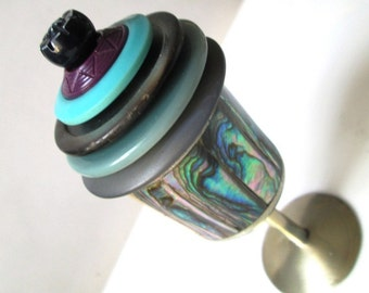 Mexican 900 Silver (Sterling is 925) Abalone Ring or Tooth Fairy Box:  Blue and Purple, Mother of Pearl Floral Vintage Buttons Jewelry Box