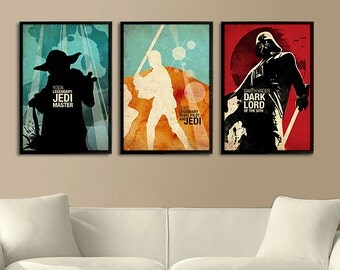 Vintage Watercolor Star Wars Collection (Yoda, Luke, Darth Vader) - Series 1 of 3 Posters Set