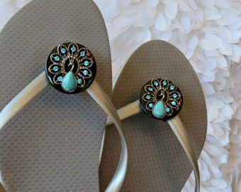 Turquoise Peacock, Flip Flop Clips, Wrap Clips, Flexible Removable Versatile Shoe Clips, Sandal Clips, Scarf Accessory, Boot Strap Accessory