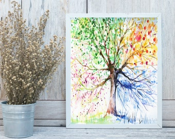 The Four Seasons Tree Print, Tree Wall Art, Nature Digital Print, Instant Digital Print, 8x10 Digital Print, INSTANT DOWNLOAD