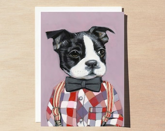 Charlie - Greeting Card - Blank Inside - Dogs In Clothes