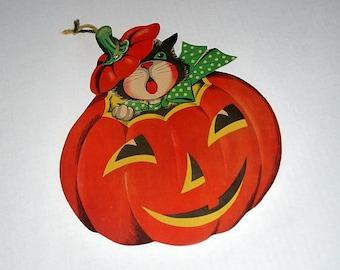 Vintage Halloween die cut / black cat pumpkin jack o lantern JOL / decoration Dennison / wall decor party / craft scrapbook ephemera