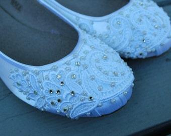 SALE - size 7.5 White French Pleat Bridal Ballet Flats