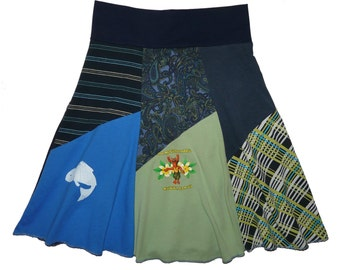 Sale 20% Off Women's Small Medium Upcycled Hippie Skirt recycled t-shirt clothing from Twinkle