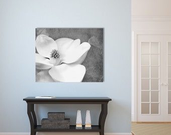 Black and White Flower Canvas Print- Canvas Gallery Wrap, Magnolia Flower Photograph, White Grey Canvas Wall Art, Large Wall Art,