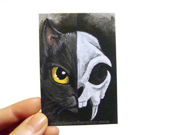 SALE: Black Cat Print, Skull Art, ACEO Card, Yellow Eyes, Pet Loss, Sympathy Gift, Animal Portrait, Macabre Art, Gothic Decor