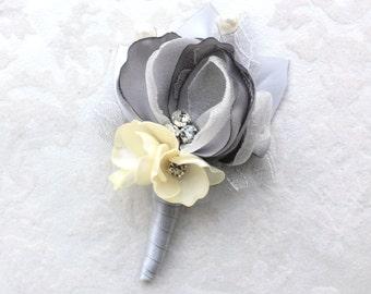 Gray Ivory Boutonniere/ Wedding Lapel Pin/ Handmade Wedding Accessory