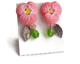 Pink Pansy Flowers Stud Earrings/ Hypoallergenic Earrings/ Crocheted Pansy Flower/ Crochet Earrings/ Mixed Media Jewelry/ Gift Ideas C006ST