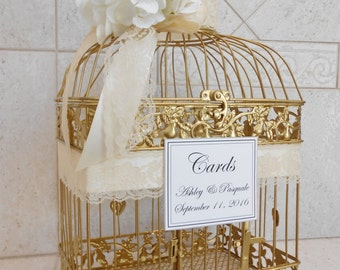 Large Gold Birdcage Wedding Card Holder / Wedding Card Box / Gold Birdcage / Card Holder / Gold and White / Gold and Ivory