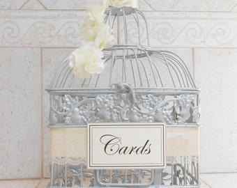 Small Silver Birdcage Wedding Card Holder / Wedding Card Box / Wedding Box / Ivory Wedding / Silver Wedding / Wishing Well / Wishes Box