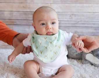 """Cowl style bandana bib """"mint buck"""" fabric.  Great for boy or girl.  Matching knotted bow headband also available."""