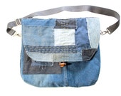 Boro and Sashiko Style Patchwork Messenger Bag