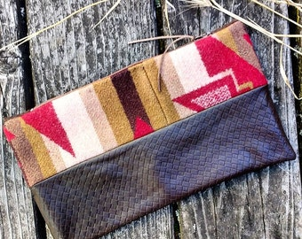 Pendleton Wool and Brown Leather Clutch, Wool and Leather Bag, Southwest Print, Travel, Makeup, Cosmetic Bag, Zipper Pouch, Pendleton Bag