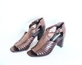 70s ITALIAN HUARACHE Strappy High Heel Sandals Distressed Leather Peep Toe Chunky Wooden Heel Hippie Boho Shoes