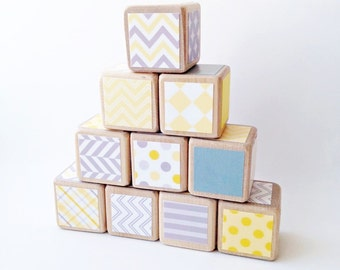 Yellow and grey decorated blocks. Kids. Eco friendly wood blocks for Baby / Toddler. Unisex baby gift. Gray and yellow Shower Decor. Nursery