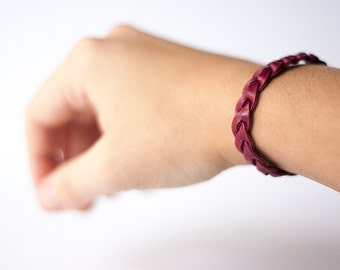 Braided Leather Bracelet / Cranberry