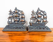 Vintage Cast Iron Sailing Ship USS Constitution Old Ironsides Bookends , Unique Sailing Boat Library Decoration for Nautical Home Decor ,