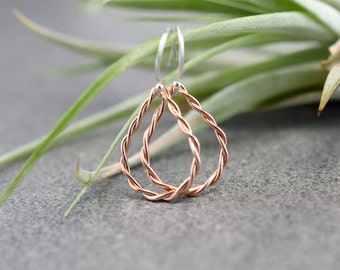 Rose Gold Twist Teardrop Earrings, Sterling Silver Ear Hooks