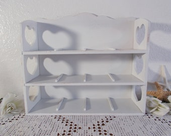 White Shabby Chic Curio Display Shelf Upcycled Vintage Rustic Distressed Wood Storage Organizer French Country Farmhouse Cottage Home Decor