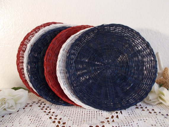 red white blue wicker paper plate holder beach cottage coastal. Black Bedroom Furniture Sets. Home Design Ideas