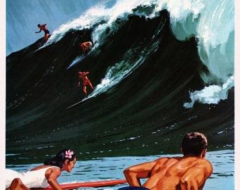 Hawaii Big Wave Surf Vintage United States of America Travel Advertisement Art Poster