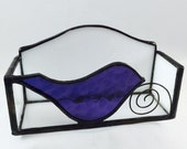 Stained Glass Business Card Holder with Cute Little Purple Bird