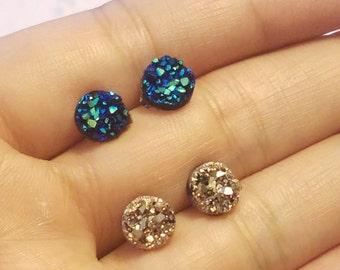 Druzy earrings - Rose Gold Druzy Studs Earrings - Mermaid Earrings -Boho Jewelry - Bridesmaid gifts