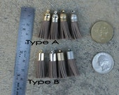 4 Cocoa Brown Mini Cowhide Leather TASSELS in Gold, Silver, Antique Silver or Antique Brass Plated Cap(Type A or B)- Pick tassel cap