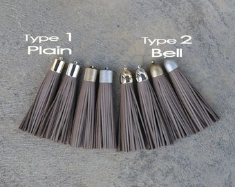 Cocoa Brown (cowhide) Leather TASSEL in 16mm Cap -4 colors Plated Cap- Pick cap color & type
