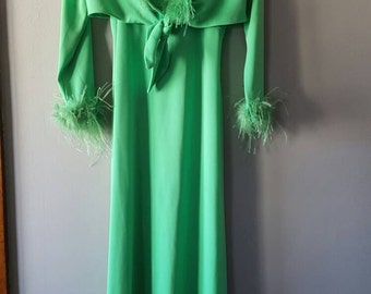 Vintage 1970's LAST MINUTE St. Patrick's Day Disco Outrageous 2-Piece Maxi Dress with Maribu Feather Cropped Jacket, Size 14