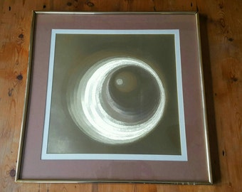 Vintage 1970's MANIFESTATIONS Psychedelic Optical Illusionary Foil Matted and Framed Art Work Wall Hanging