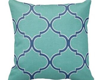 Blue Outdoor Trellis Throw Pillows, Decorative Pillows,Pool Pillows, Pillow Covers, Outdoor Chair Pillows,Blue Pillows