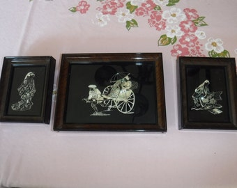 Vintage Japanese Art Lacquer Framed Art  Mother of Pearl X 3